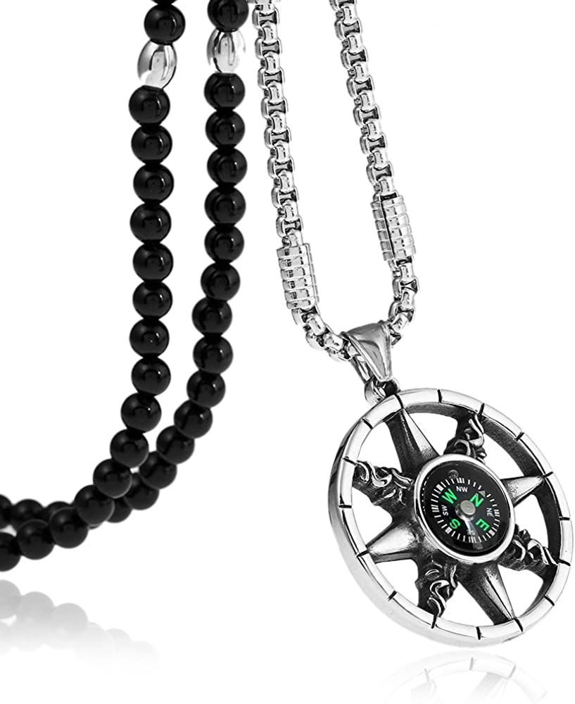 """BLEUM CADE Stainless Steel Compass Adventure Survival Tool Pendants Necklaces with Agate Stone Chain 26"""""""
