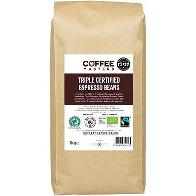 Coffee Masters Granos de Café Arábigo con Triple Certificación, Orgánico, Fairtrade, 1kg - Ganador Del Premio Great Taste 2018