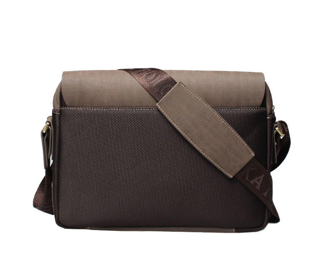 Maod 2017 borse Uomo Vintage ventiquattrore Casual cuoio borsa messenger Lavoro borse tracolla piccolo (Marrone L)