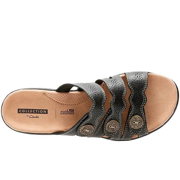 Clarks Leisa Grace, Sandale de Mule Dames Noires en Cuir avec 3 Sangles 8 Black Leather
