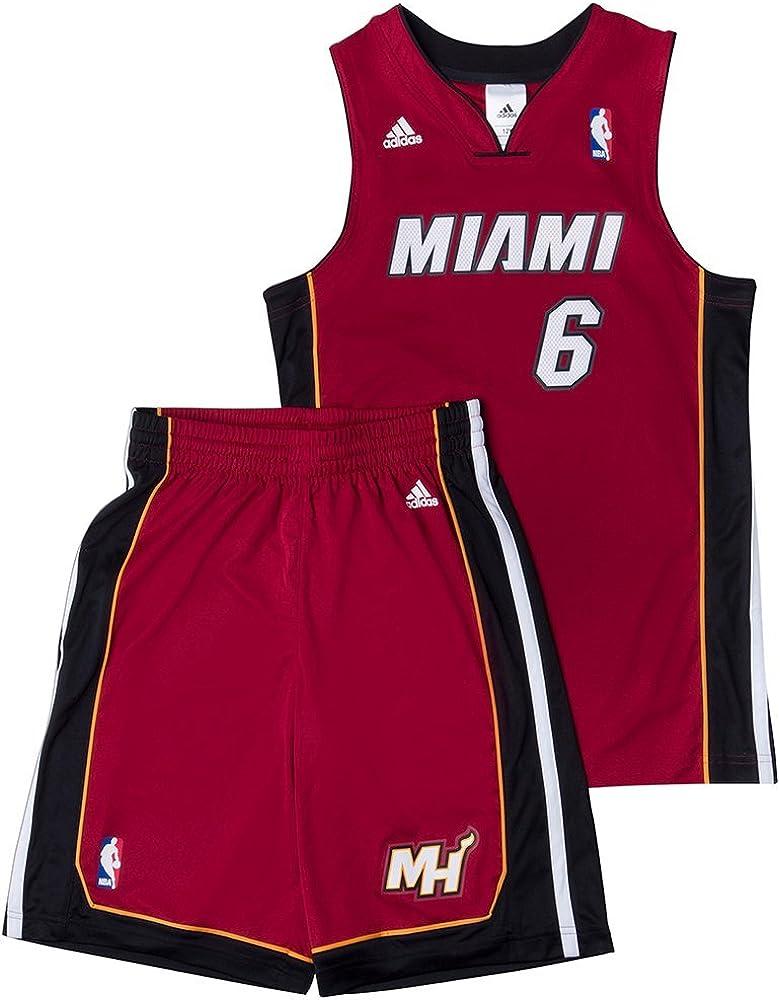 adidas Performance Miami Heat NBA LeBron James niños del baloncesto de Jersey Rojo X22275 , Size:128: Amazon.es: Deportes y aire libre
