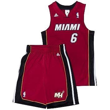huge selection of ac944 a8fd0 adidas Performance Miami Heat NBA LeBron James basketball Maillot rouge  enfants X22275, Size 128