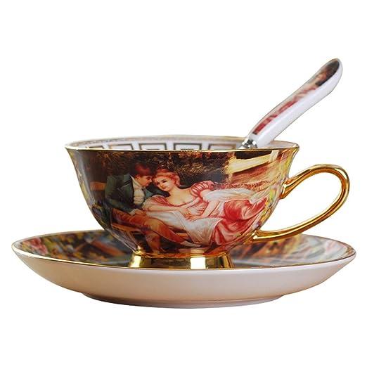 ufengke-ts Palace - Juego de tazas de café con plato y cuchara de ...