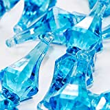 """Custom & Fancy {0.75'' x 2"""" Inch} Approx 124 Pieces/16 oz of Large """"Table"""" Party Confetti Made of Acrylic w/ Light Blue Sapphire Jewel Tone Diamond Chandelier Drop Pendant Scatter Design [Turquoise]"""