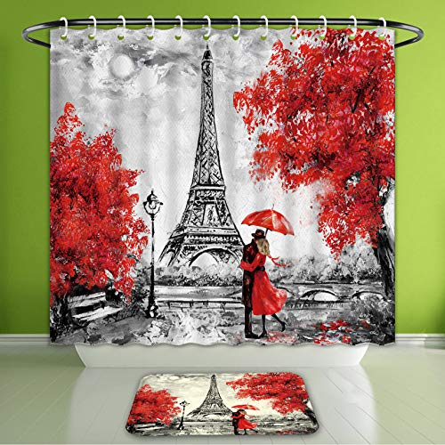 Paris Geometric Rug - Waterproof Shower Curtain and Bath Rug Set Oil Painting Paris European City Landscape France Wallpaper Eiffel Tower Black White and Red Bath Curtain and Doormat Suit for Bathroom 72
