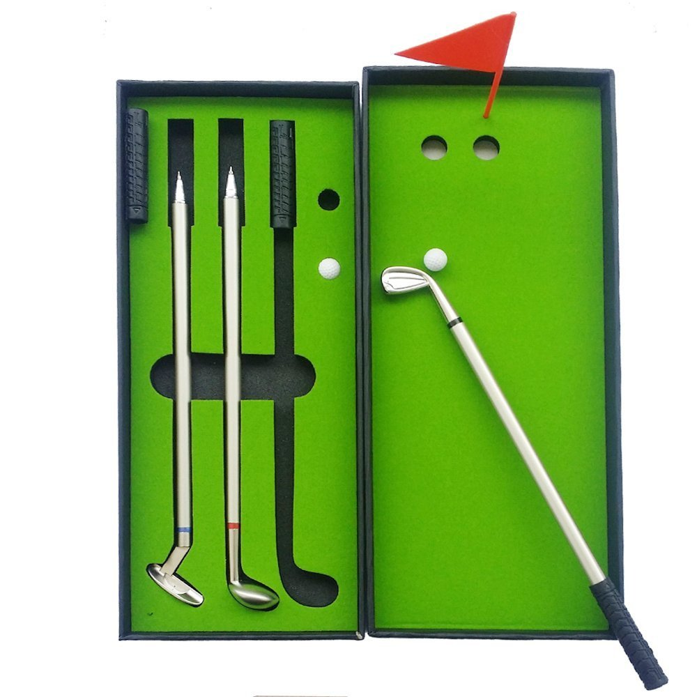 Golf Pen Set, NALAKUVARA Mini Desktop Golf Ball Pen Gift Set with Putting Green, Flag, 3 Colors Metal Golf Clubs Models Ballpoint Pens & 2 Balls