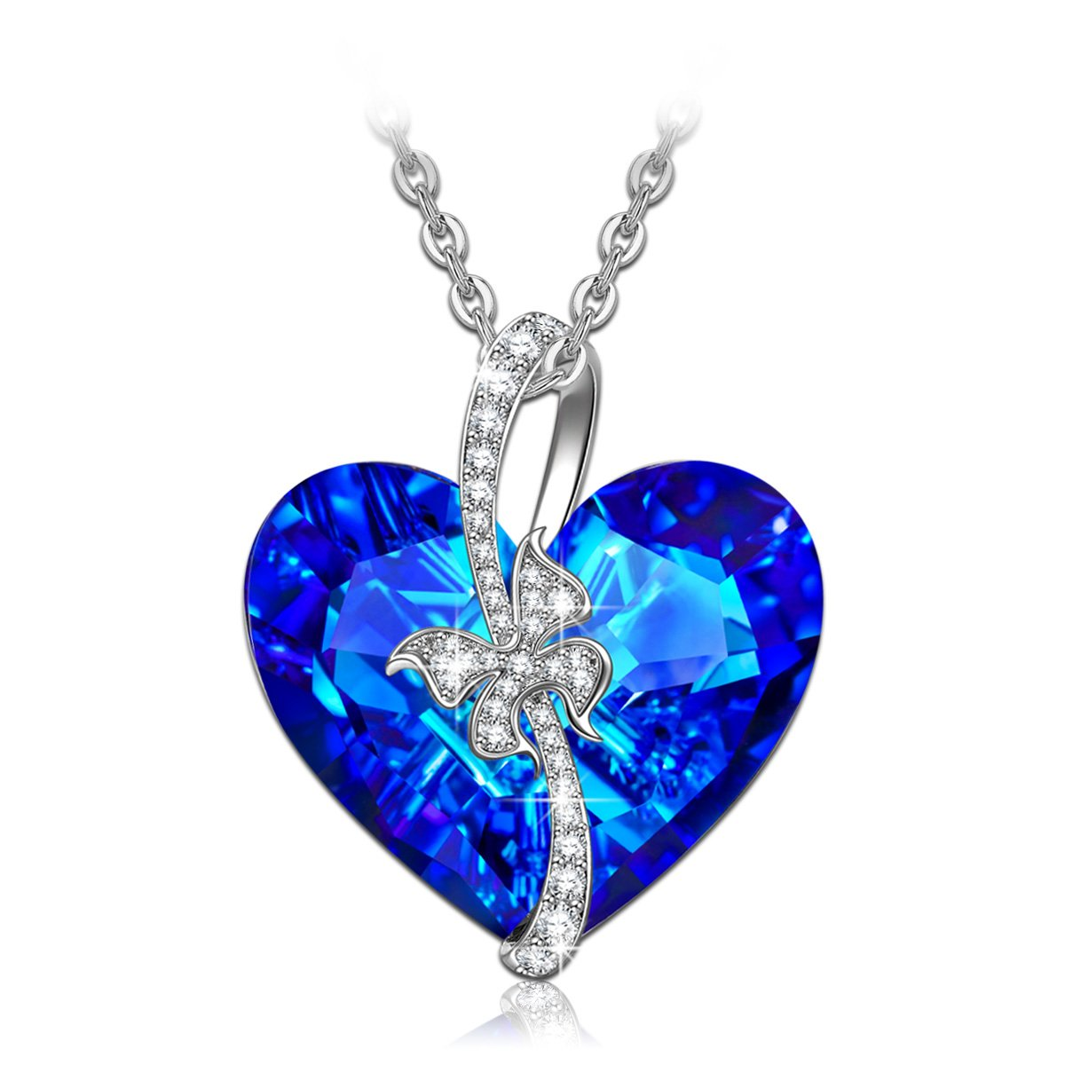QIANSE Gifts for Women Blue Sapphire Love Heart Necklace Swarovski Crystal Jewelry Necklaces for Women Girls Birthday Gifts for Girlfriend Wife for Her for Women