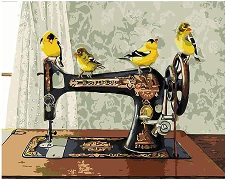 Máquina de coser antigua Pintura de bricolaje con kits de números para adultos Arte de la pared Imagen para colorear por números para decoración del hogar Regalo único 40x50 cm sin marco: