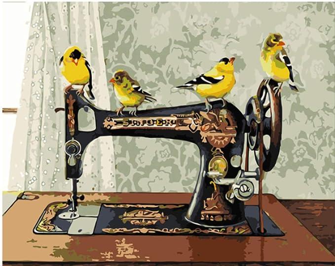 Máquina de coser antigua Pintura de bricolaje con kits de números ...