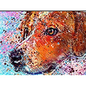 American Foxhound Dog Wall Art Decor, Fox Hound Dog Memorial, Abstract Dog Picture Gift Choice of Sizes Hand Signed by Dog Portrait Artist Oscar Jetson. 3