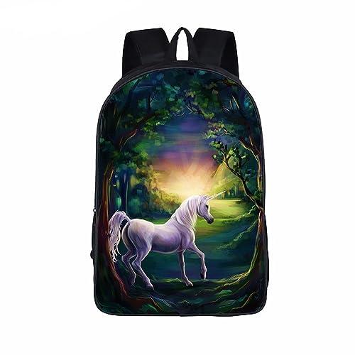 OPEN BUY Mochila ergonomica unicornio en bosque purpura con salida para auriculares universidad master colegio,