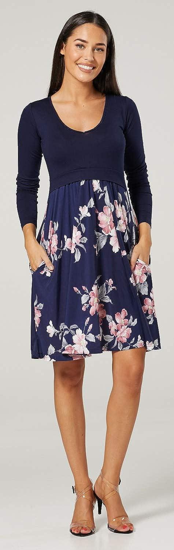 HAPPY MAMA Damen Mutterschaft Muster Empire-Taille Kleid Langarm 546p