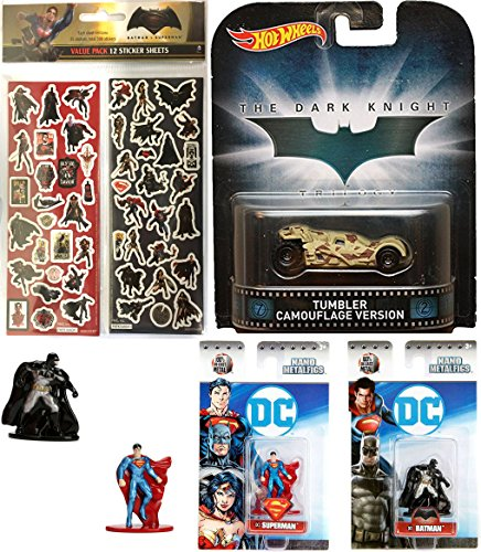 Harley Quinn Batman The Animated Series Costume (Hot Wheels Tumbler Camo Retro & DC Comics 2017 Nano Metalfigs Superman & Batman Mini Figures Die-Cast + Bonus Stickers)