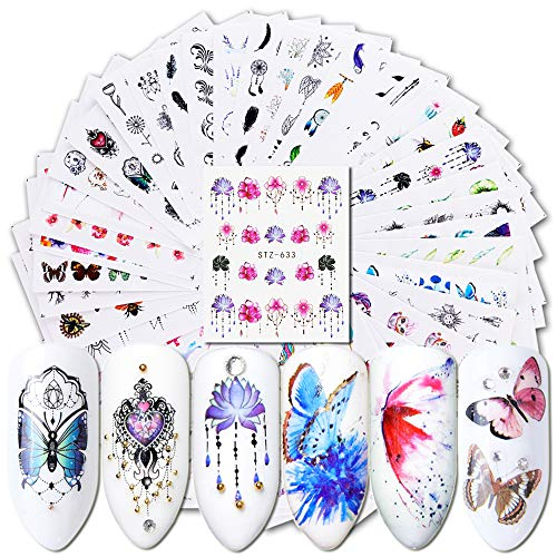 Toe Nail Designs For Halloween (40 Sheets Nail Decals Nail Art Stickers for Women Manicure Accessories Assorted Nail Water Designs with Butterfly Black Flower Pendant Leaf Patterns for Fingernails & Toenails Tips Decorations)