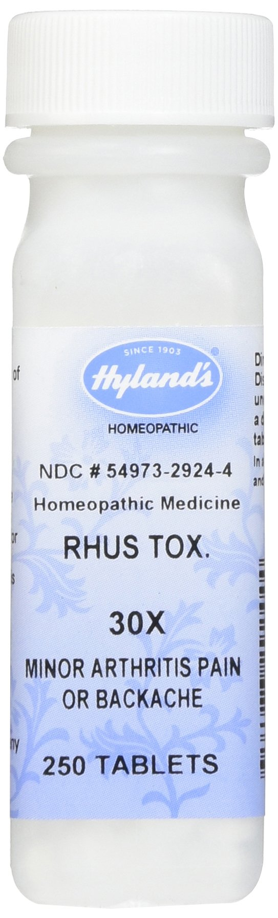 Back Pain and Minor Arthritis Relief, Natural Remedy by Hyland's, Rhus Tox. 30X Tablets, 250 Count