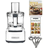 Cuisinart Elemental 8-Cup Food Processor (White) + 2 Cookbooks and Measuring Spoon Set