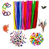 700Pcs Pipe Cleaners Craft Set,Includes 200Pcs Chenille Stems,300Pcs Pompoms,200Pcs Wiggle Eyes for DIY Art Projects