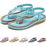 08cc56320c771e Gracosy Sandales Plates Femmes, Chaussures de Ville Été à Talons Plats  Tongs Claquettes avec Semelle