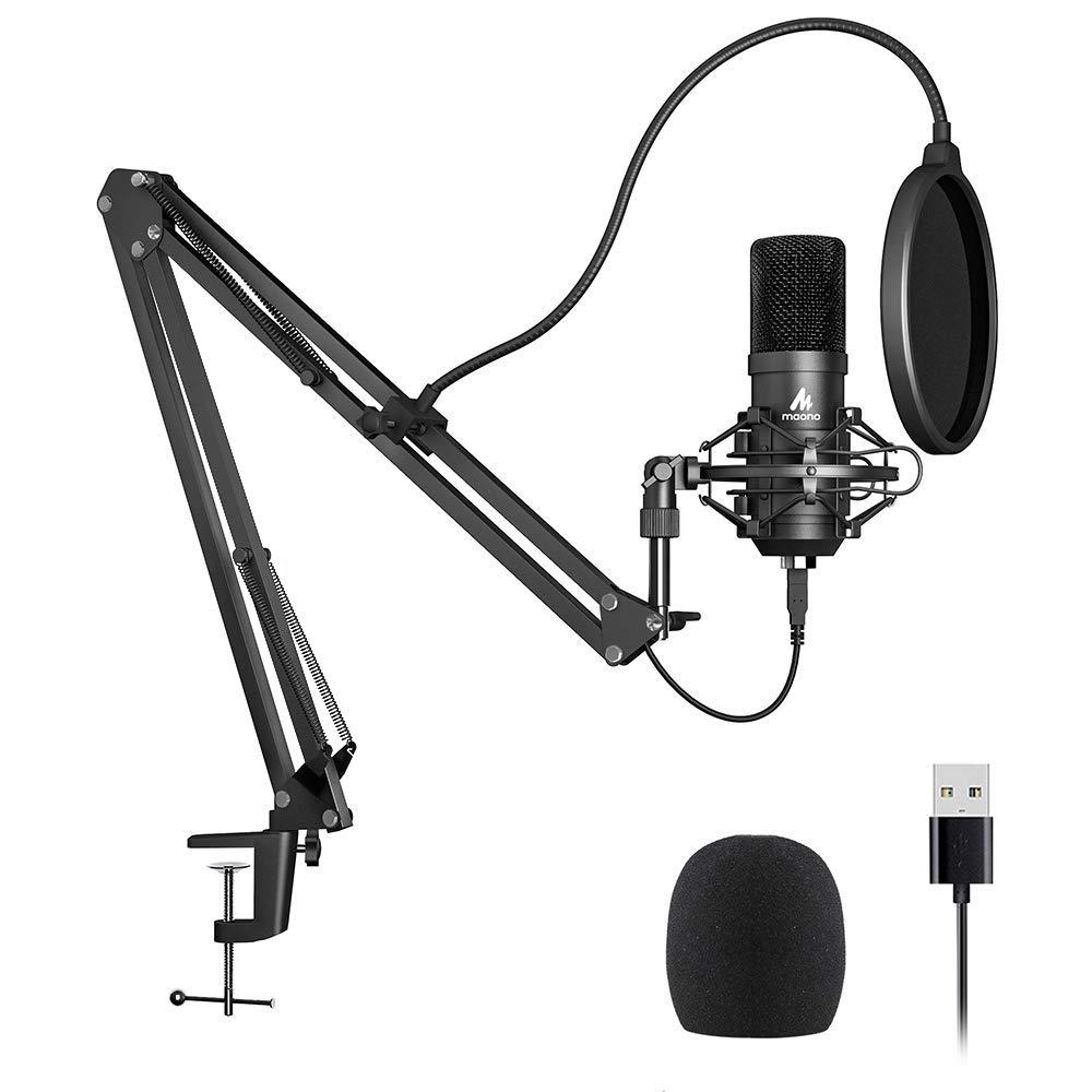 Kit de micrófono USB 192KHZ / 24BIT Plug & Play MAONO AU-A04 Computadora USB Micrófono cardioide Podcast Micrófono de co