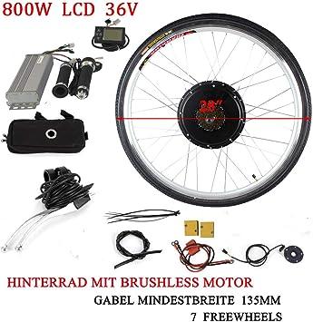 OUKANING - Kit de conversión para Bicicleta eléctrica (36 V, 800 W, Pantalla LCD de 28