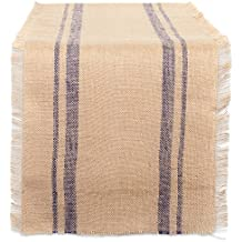 "DII 14x108"" Jute/Burlap Table Runner, Border French Blue - Perfect for Fall, Thanksgiving, Catering Events, Farmhouse Décor, Dinner Parties, Special Occasions or Everyday Use"