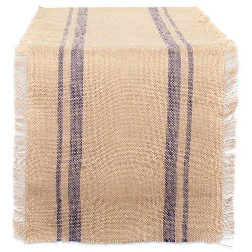 """DII CAMZ38413 French Blue Double Border Burlap Table Runner, 14x72"""","""