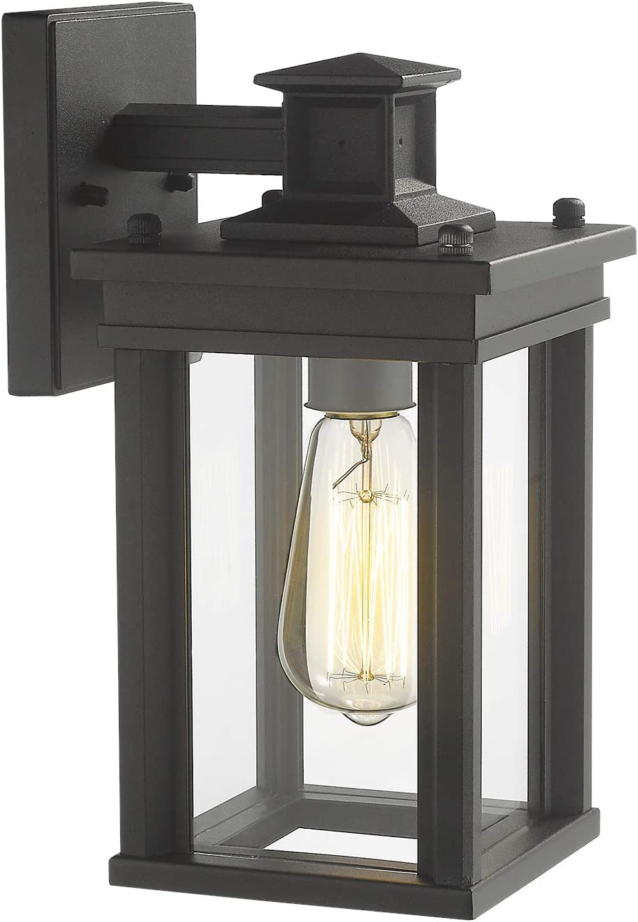 Zeyu Outdoor Porch Light Exterior Wall Sconce Lantern For Hallway Patio Black Finish With Clear Glass Shade 02a30w Bk Amazon Com