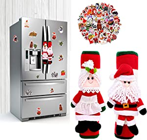 BIMZUC Christmas Refrigerator Door Handle Covers, Santa Kitchen Appliance Handle Covers, Christmas Stickers(50PCS), Fridge Microwave Oven Dishwasher Door Handle Protector Christmas Decorations