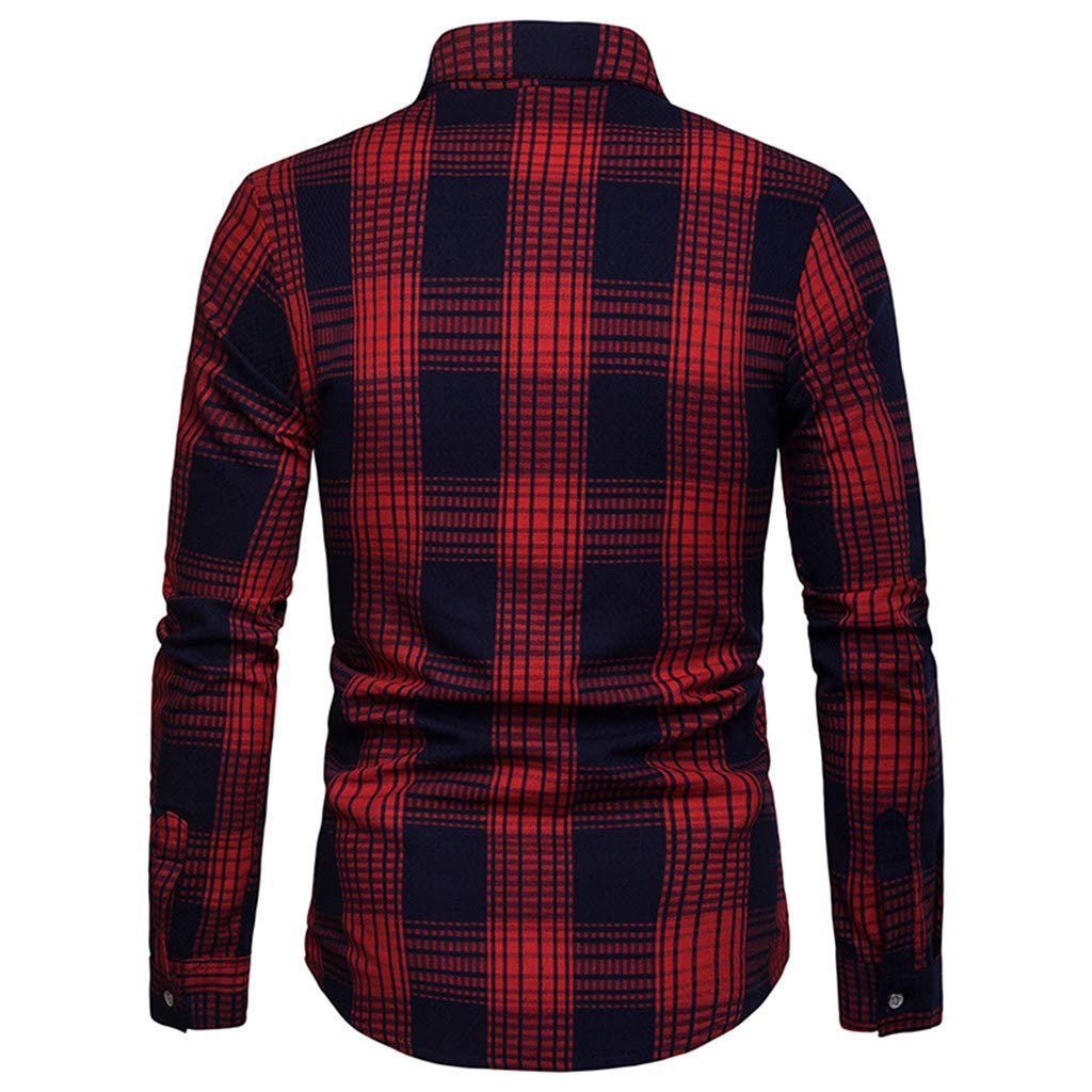WM /& MW Fashion Mens Slim Fit Plaid Shirt Casual Spring Long Sleeve Pockets Button Shirt Lattice Blouse Lapel Tops