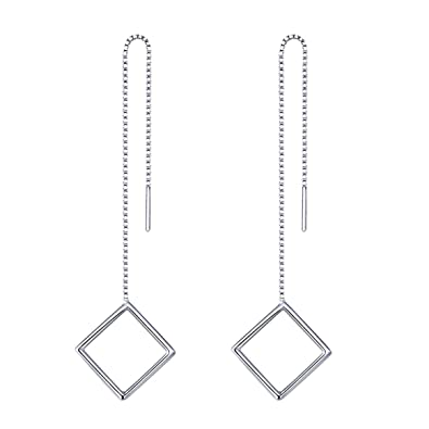 iszie jewellery Sterling Silver Bar Threader Pull Through Chain Earrings (18 CM) CN4EHOAw