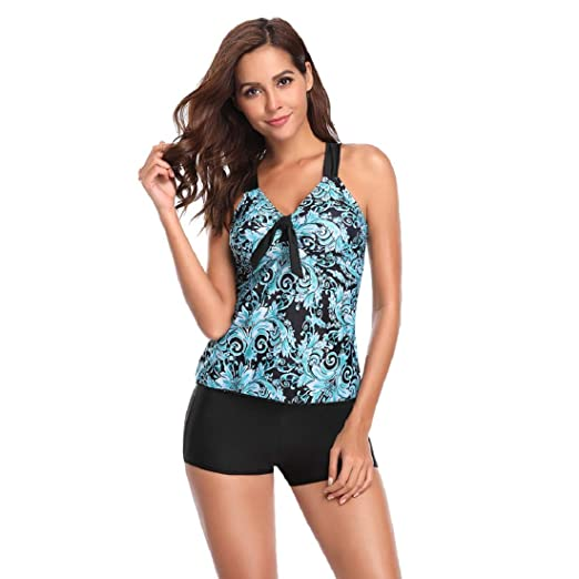496acf3888 Women's Two Piece Swimsuit GONKOMA Womens Tankini Top Bikini Set Swimwear  Beachwear Bathing Suit Blue