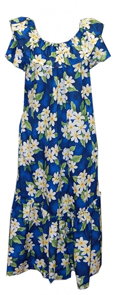 156ed878264 Jade Fashions Inc. Women Hawaiian Long Double Ruffle Blue Plumeria Muumuu