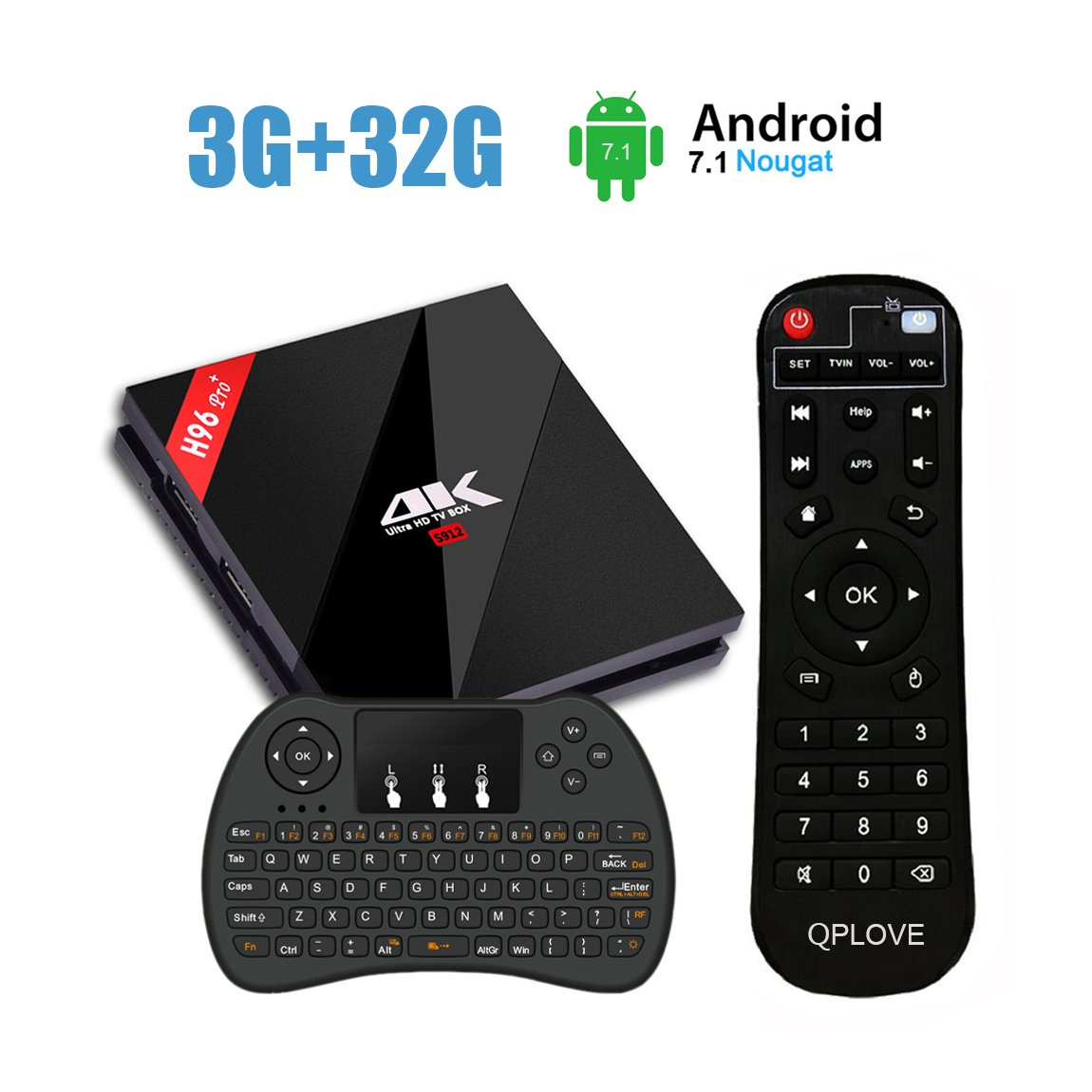 H96 Pro+ TV Box Android 7.1 OS 3G DDR3 32G EMMC Smart TV Box 4K HD Amlogic S912 Octa-core BT4.1 Dual Band 2.4G/5.8G WIFI Ethernet 1000M with Wireless Keyboard by QPLOVE
