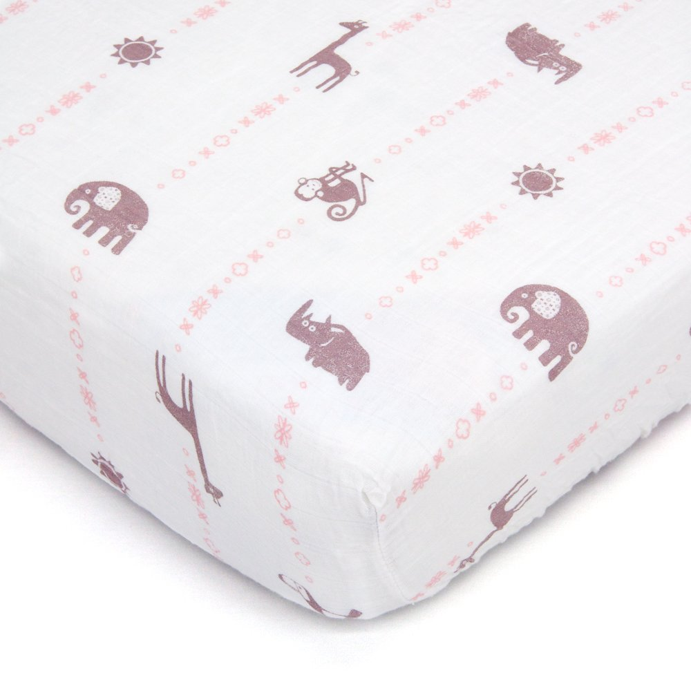 Bambino Land Organic Muslin Crib Sheet - Animal Designs (Jungle GIrl) by Bambino Land