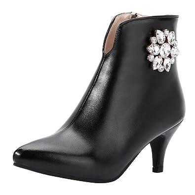 Women's Fashion Zipper Rhinestone High Heel Ankle Boots