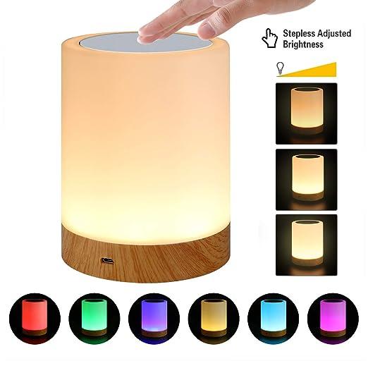 Lámpara de Mesa LED, Lámparas de Mesita de Noche con control táctil, Luz Nocturna Infantil de seis colores regulable para Salon Dormitorio Niños Bebé ...