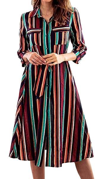 34942d269 Etecredpow Women s Long Sleeve Casual Button Up Big Pendulum Striped ...