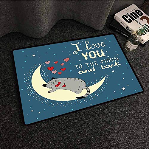 Living Room Bedroom Carpets I Love You,Sleepy Cat Holding Hearts Over The Moon at Night Sky,Slate Blue Warm Taupe Pale Yellow,W24 xL35 Area Rugs