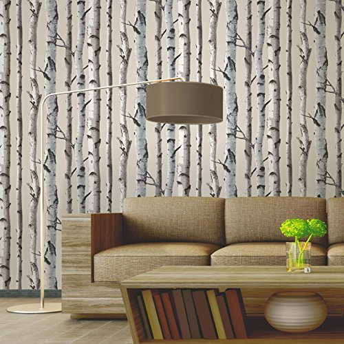 Fine Decor Natural Beige / Cream - Fd31051 - Birch Tree - Forest Woods - Wallpaper - Fine Decor