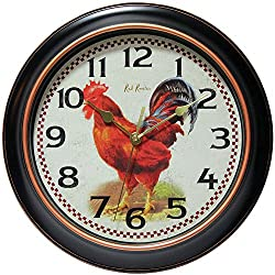 Good Luck Red Rooster 12 inch Diameter Wall Clock - Great for Kitchens