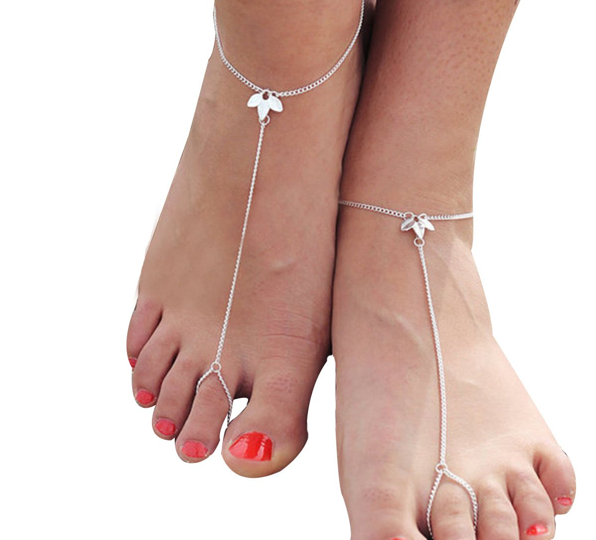 Kiss Queen Womens Barefoot Sandals Elegant Orchid Chain Anklets Bracelet