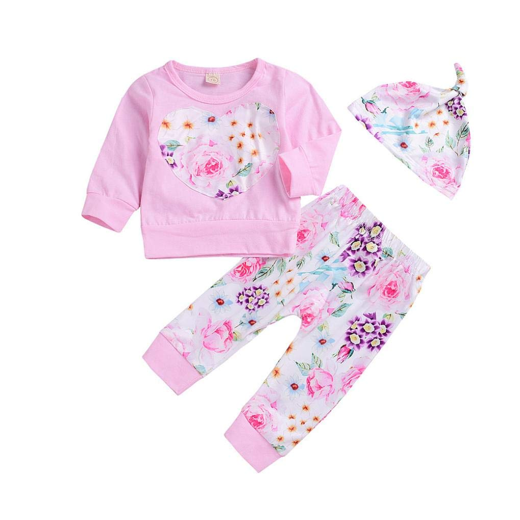 Baby Girls Pants Set Newborn Clothes for 0-24 Months Floral T-Shirt Tops+Pants Leggings Hat Outfits Clothes JY-123