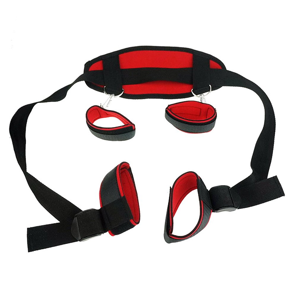 REDQIN Premium Nylon Re-straints Kit Ankle & Wrist & Thigh Leg Re-s-traint System (Red & Black) by REDQIN