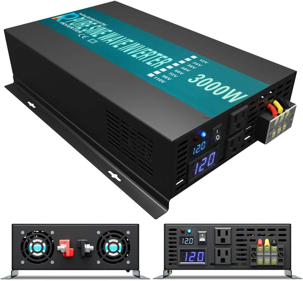 WZRELB RBP300012 3000W 12V 110~120V Pure Sine Wave Solar Power Inverter DC to AC System