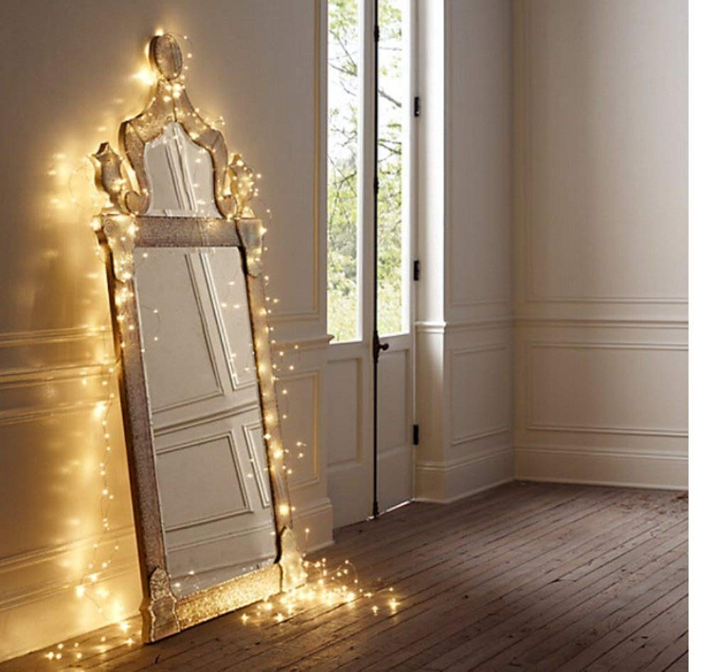 Salcar Catena luminosa a LED, 10 metri/33 Ft, 100 diodi per interni ed esterni, filo di rame per Natale, feste, impermeabile, connettore USB (bianco caldo) [Classe di efficienza energetica A+] 910002