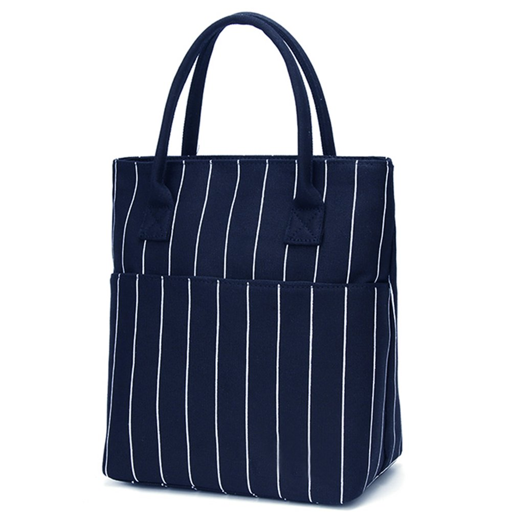 Heymoko Medium Insulated Lunch Bag Stripe Durable Canvas Lunch Tote High Capacity Lunch Box for Girls Women, Suitable for School Work Shopping (Blue-Stripe)