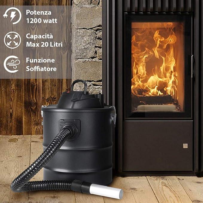 ... cenizas con función sopladora Filtro Interno Hepa y tubo Campana flexible Capacidad Depósito 20 Lt para limpieza chimenea Chimenea estufa de pellets y a ...
