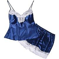 Guesthome 2PC Sleepwear Set, Women Sling lace Patchwork Lingerie Babydoll Nightdress Underwear Set