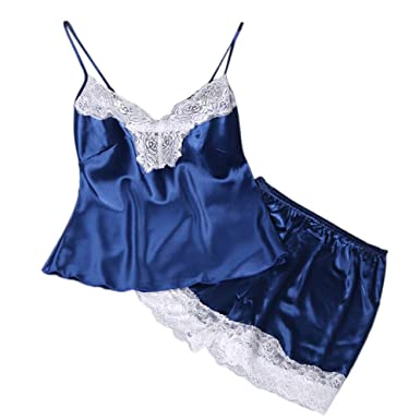 1baf14db80 2019 Sleepwear Sets for Women 2PC Lingerie Women Babydoll Nightdress  Nightgown Sleepwear Underwear Set Blue S