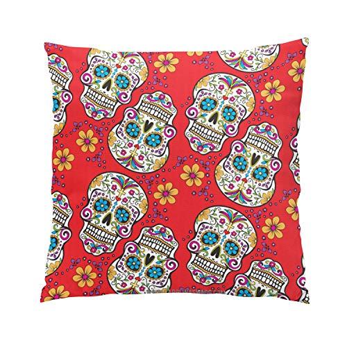 Suklly Sugar Skull Halloween Red Png Modern Hidden Zipper Home Sofa Decorative Throw Pillow Cover Cushion Case 26x26 Inch European Square Two Sides Design Printed Pillowcase ()
